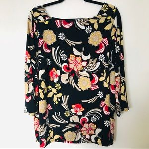 Lane Bryant Navy Floral Career Blouse Size 22/24